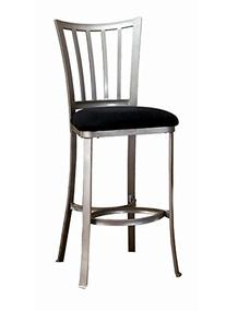 Delray Non-swivel Bar Stool with Faux Black Suede Fabric