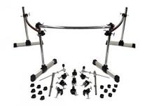 Deluxe Drum Rack Kit 3 Section 25 Piece Set Cymbal Boom Arms, Clamps HD Chrome