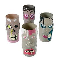 Set of 12 DELUXE LARGE PLASTIC MOLDED COLORED ZOMBIE CUPS ~