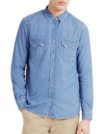 Topman Denim Sport Shirt-BLUE-X-Small
