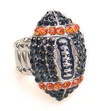 Denver Fan Jewelry Blue and Orange Rhinestone Football Women