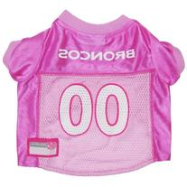 Pets First NFL Denver Broncos Jersey, Small, Pink