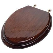 Designer Solid Elongated Wood Toilet Seat w/PVD Brass Hinges