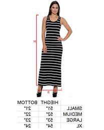 Enimay Women's Designer Stripe Summer Maxi Long Dress Scoop