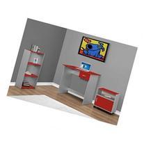 3 Piece Standard Desk Office Suite, Red / Silver