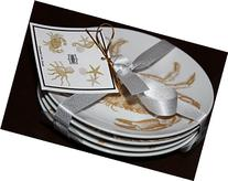 222 Fifth Coastal Life Gold Dessert/appetizer Plates - Set