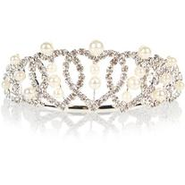 Monsoon Diamante Heart and Pearl Tiara Comb