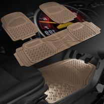 OxGord 3pc Diamond Heavy Duty Rubber Floor Mats, Beige