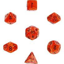 Chessex Dice: Polyhedral 7-Die Vortex Dice Set - Orange w/