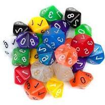 Chessex Dice: Ten Sided Dice - D10 - Random Group of 20 Ten