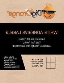 Digiorange® Pack of 100 Sheet - 400 Labels - White Mailing/