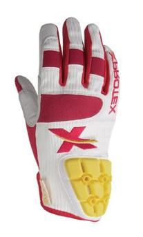 Xprotex Girls Dingr White/Rodamine Red Batting Glove, Youth