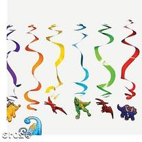 Dinosaur Hanging Swirl Party Decorations - 12 pcs by Party