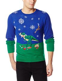 Alex Stevens Men's Dinosaur Reindeer Buffet Ugly Christmas
