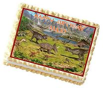 Dinosaur Theme Personalized Edible Cake Topper Image -- 1/4