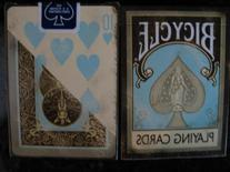 Bicycle Dirty Faded Vintage Teal Brown Playing Cards