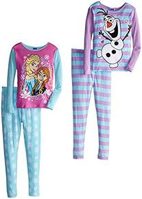 Disney Big Girls'  Frozen Anna Elsa and Olaf 4 Piece Pajama