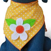 Dog Bandana with Flower Applique