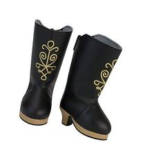 18 Inch Doll Black Heel Boots with Gold Metallic Print