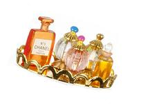 Dollhouse Miniature Amber/Pink Perfume Set W/Tray