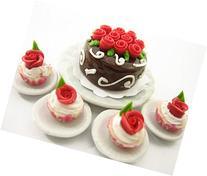 Dollhouse Miniatures Food Cake & Red Rose Cupcake Ceramic