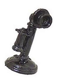 Dollhouse Miniature 1:12 Scale Classic Desk Telephone, Black