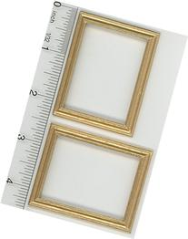 Dollhouse Miniature Two Gold Painted Wood Frames by Falcon