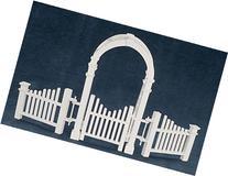 Dollhouse Miniature White Arbor w/Gate & Fence