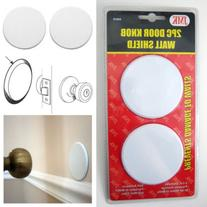 2Pc Door Knob Wall Shield Round White Self Adhesive