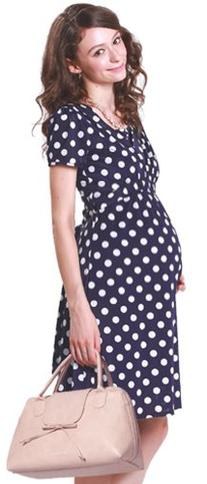 Sweet Mommy Dot Front Gathered Maternity and Nursing Dress