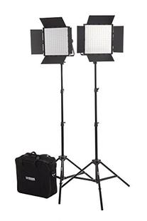 Fovitec StudioPRO - 2x Daylight 600 LED Panel Bundle w/Barndoors, Stands, Carrying Case