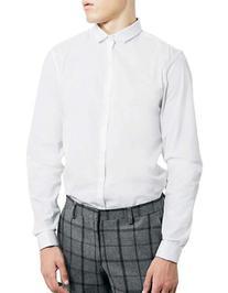 Topman Double Cuff Sport Shirt-WHITE-X-Large