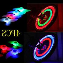 4 Pack Double Faced Bicycle Spoke Light Wind Fire Wheels