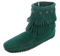 Minnetonka Women's Double Fringe Side Zip Boot Pine Suede