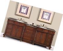 """90"""" Double Sink Baltic Brown Granite Top Bathroom Vanity"""