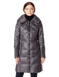 BCBGeneration Women's Down Coat with Hood, Gunmetal, X-Large