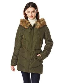 Kensie Women's Down Coat with Faux Fur Hood Diamond Quilted
