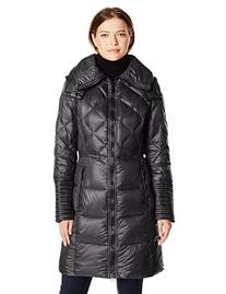 BCBGeneration Women's Down Coat with Hood, Black, X-Large