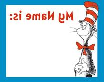Eureka Dr. Seuss Cat in the Hat Adhesive Name Tags, Package