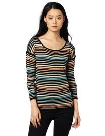 Kensie Women's Drapey Striped Sweater, Melon Multi, Medium