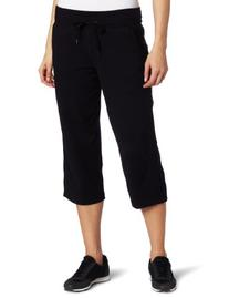 Danskin Women's Drawcord Crop Pant, Black, Large