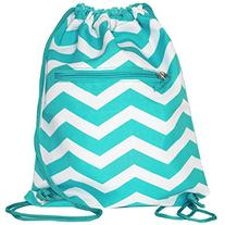 World Traveler 15 Inch Drawstring Backpack Bag, Light Blue