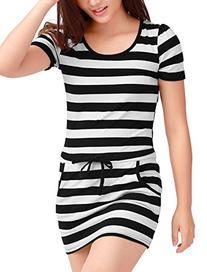 Allegra K Ladies Drawstring Waist Stripes Mini Dress M Black
