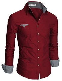 Mens Casual Slim Fit Dress Shirts WINE MEDIUM