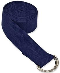 YogaAccessories 10' D-Ring Buckle Cotton Yoga Strap - Blue