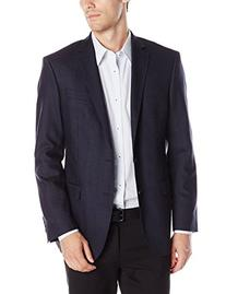 DKNY Men's Druce Check 2 Button Slim Fit Sport Coat, Blue,