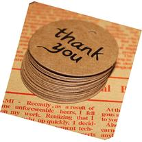 DUFUSTORE 50x Thank you Kraft Paper Gift Tags Doorplate
