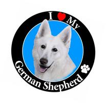 """I Love My German Shepherd"" White Car Magnet With Realistic"