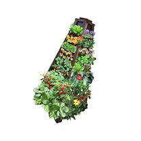 Earth Tower Vertical Garden: 4-sided Wooden Planter on