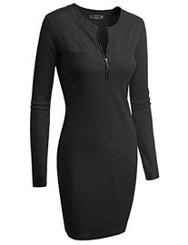 Doublju Fitted Ribbed Knit Zipper Front Mini Dress  CHARCOAL